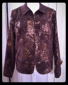 NWOT Erin London Jacket M brown animal print.